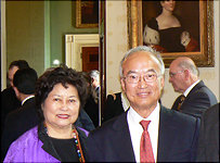 Cathy Woo and her brother Alfred Cho at a white house reception, July, 2004